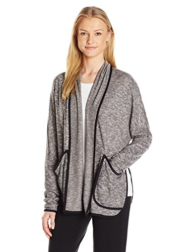 Midnight by Carole Hochman Women's Brushed Slub Sweater Cardigan, Marled Black, XL (Cardigan Carole Hochman)