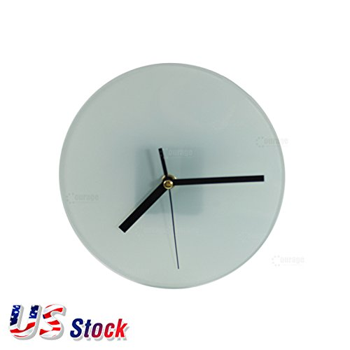H-E 20pcs/CTN Sublimation Blank Round Clock Glossy Glass Photo Frame Decor Heat Press Clock with Support Stand - US Stock ()