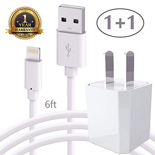 Price comparison product image iPhone Long Charging Cord - 6FT Lightning Data Sync Cable with AC USB Wall Brick Charger Travel Power Plug Outlet Adapter Cube for iPhone X 8 8Plus 7 6 6S 5 SE Plus Models iPod iPad and More - White
