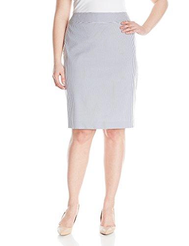 Nine West Women's Plus-Size Seersucker Suit Skirt, Navy/White, 14