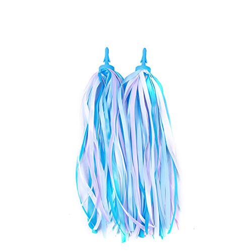 Kid's Rainbow Bike Streamers For Girls Boys, 2 PCS Childrens Baby's Colorful Handlebar Bicycle Grips Tassel Ribbons,Carrier Accessories Easy Attach To Scooter's/tricycle's/bike's Handlebars -Blue ()