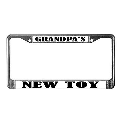 CafePress Grandpa's New Toy Chrome License Plate