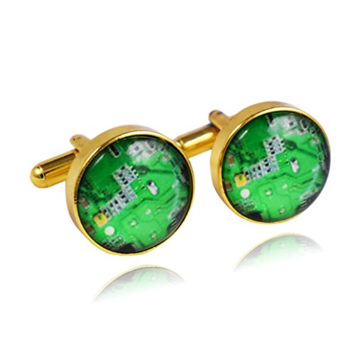Gold Chip Computers (Circuit Board Computer Image Chip Cuff Links (Gold))