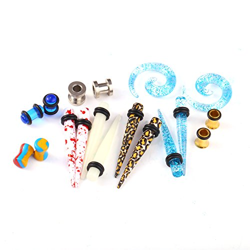 BodyJ4You 18PCS Taper Tunnel Plugs Randomly Assorted Ear Piercing Gauges Kit 2G (6mm) - 9 Pairs