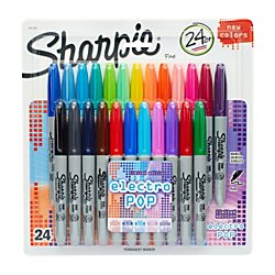 Sharpie Fine Electro Pop Marker, Fine Point, Assorted, 24/Pack (1927350), Package May - Sharpies Individual
