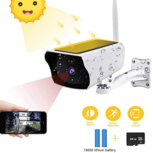 Solar Energy Outdoor Security Camera Wireless, 1080P HD Solar Powered Bullet Wi-Fi IP Camera IP67 Waterproof Night Vision Two-Way Audio Ptz Zoom Motion Detection Alert + 64G SD Card