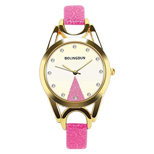 AKwell Women's Watch Fashion Leather Band Unique Gold Disc Analog Quartz Round Wrist Watches