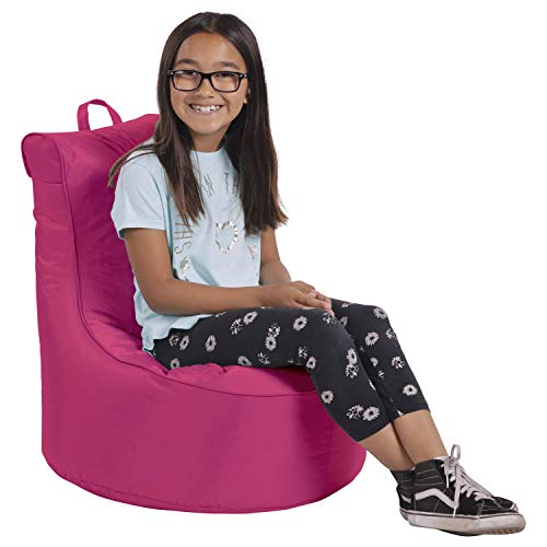 Cali Paddle Out Sack Bean Bag Chair, Dirt-Resistant Coated Oxford Fabric, Flexible Seating for Kids, Teens, Adults, Furniture for Bedrooms, Dorm Rooms, Classrooms - Raspberry ()