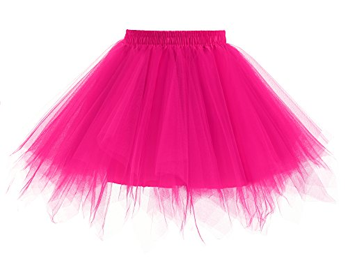 Yinyyinhs Baby Girls' Classic Dance Tulle Tutu Skirt for Dress Up & Fairy Costume Size S Fuschia (0-2 Years)