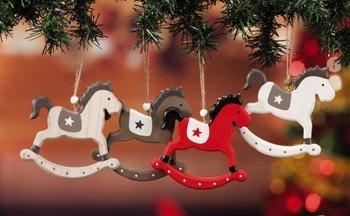 Cavallo A Dondolo Legno Natale.Sf 4 Pz Decorazioni Natalizie Cavallo A Dondolo In Legno Da