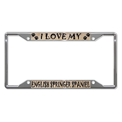 License Plate Covers ENGLISH SPRINGER SPANIEL Dog Chrome License Plate Frame Tag Holder Four (Springer Spaniel Cross)