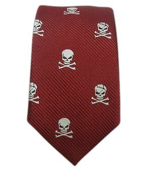 100% Woven Silk Red Skull and Crossbones Skinny Tie