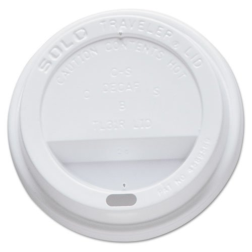 SOLO Cup Company Traveler Drink-Thru Lid, Fits 10oz Cups, White - Includes five packs of 60 each.