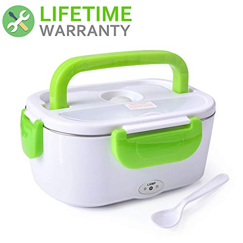 Hot Box Electric Heater - Electric Heating Lunch Box Food Heater Portable Lunch Containers Warming Bento Car 12V and Home Use 110V 2 in 1 Hot Lunch Box (Green Car/Home Use)