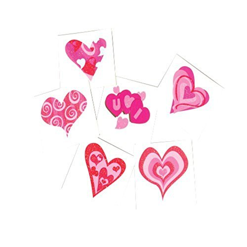 Lot of 144 Assorted Glitter Heart Theme Temporary Tattoos  15quot