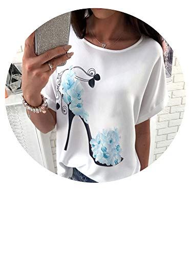 (Dreamedge T Shirt New Summer Loose Fashion Pullover O-Neck Casual Short Sleeve Printed T-Shirts,Blues,XL)