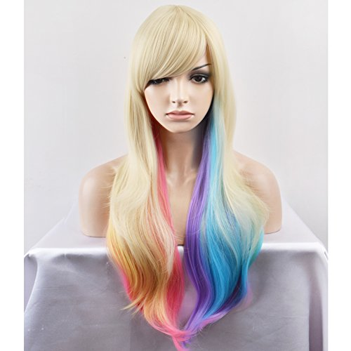 RightOn 28'' Long Wavy Blonde Pastel Rainbow Color Ombre Wig Durable Heat Resistant Synthetic Wig for Daily Use or Cosplay Hairnet Included (Pastel Rainbow Wig)