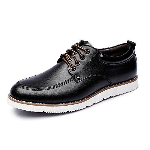Battle Men Men's Lace Up Loafers PU Leather Casual Business Soft Flats Sole Oxfords Fashion (Color : Black, Size : 7 MUS) by Battle Men