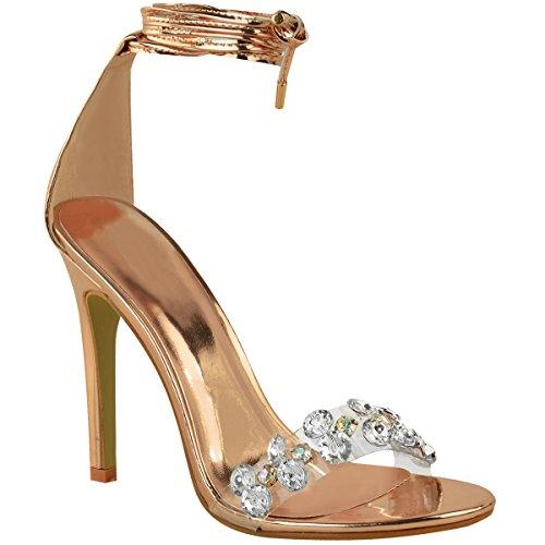 Mode Dorstige Dames Hoge Hak Vetersluiting Diamanten Gem Teenband Sandalen Maatroze Goud Metallic