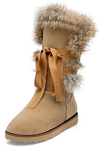 Summerwhisper Women's Trendy Faux Suede Fur Lace up Round Toe Flats Warm Fleece Lined Mid Calf Snow Boots Shoes Apricot 4 B(M) US by Summerwhisper