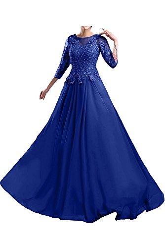 La Royal Blau Brautmutterkleider Marie Abschlussballkleider Ballkleider Spitze Braut Langes Abendkleider qZw1xrOqa