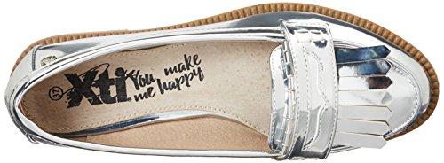XTI Silver Mirror Pu Ladies Shoes Mocasines Mujer, Plateado (Silver), 38 EU