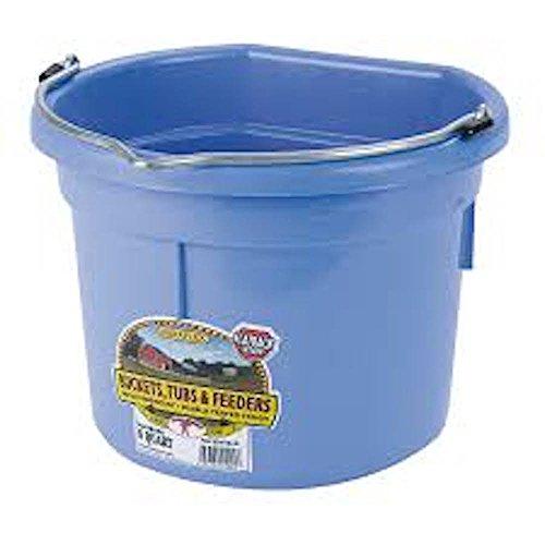 Miller Flat Back Plastic Bucket - LITTLE GIANT Flat-Back Dura-Flex Plastic Bucket, 8-Quart, Berry Blue