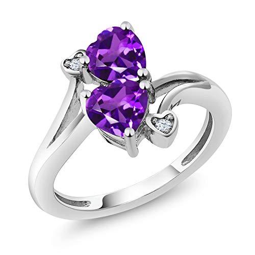 1.33 Ct Heart Shape Purple Amethyst 10K White Gold Ring (Size 6)