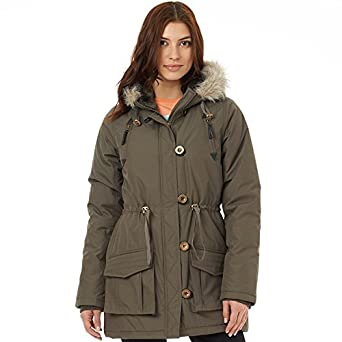 Fluid womens parka jacket khaki