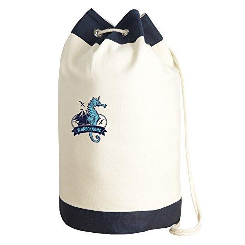 Sailing Bag Beale Street 56 ::: Seesack mit Wunschnamen ::: mit Seepferdchen-Motiv