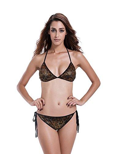 Reteron Women's Triangle Bikini Bathing Suits (S(us0-2), gold/black)