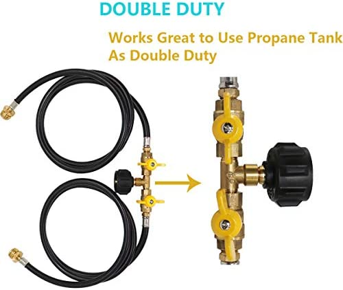 Propane 2 Way Y Splitter Hose, CGA Propane Tank Converter Adapter Hose (5ft), 350PSI High Pressure Extension Hose Assembly, Fits for QCC1 / Type1 20lbs Gas Tank and Camping Grill Stove