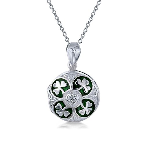 Lucky Green Enamel Heart CZ Round Celtic Irish Shamrock Clover Locket Pendant Necklace For Women 925 Sterling Silver