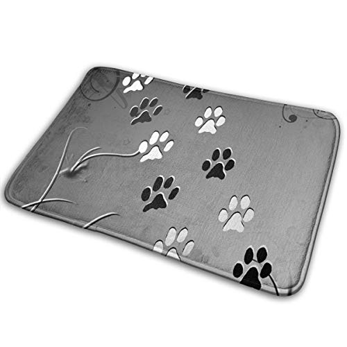 FunnyCustom Doormat Paws Black White Amazing Non Slip Water Absorption Floor Mats for -