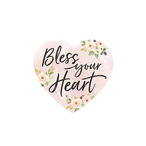P. Graham Dunn Bless Your Heart Shaped Floral Pink 4 x 3 Pine Wood Small Tabletop Plaque ()