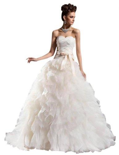 Dearta Tribunal Sweetheart Une Ligne Ferroviaire De Femmes Tulle Robes De Mariage Blanc