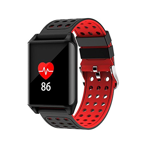 Teepao Fitness Tracker, Smart Wrist Watch with Heart Rate Monitor Bluetooth Sport Tracker,IP67 Waterproof,Anti-lost Smart Sleep Monitor for Android IOS Smartphones … (Red)