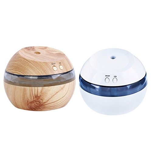 Jili Online 2Pieces 300ml Cool Mist Humidifier Ultrasonic Aroma Essential Oil Diffuser for Office Home Bedroom Living Room Study Yoga Spa