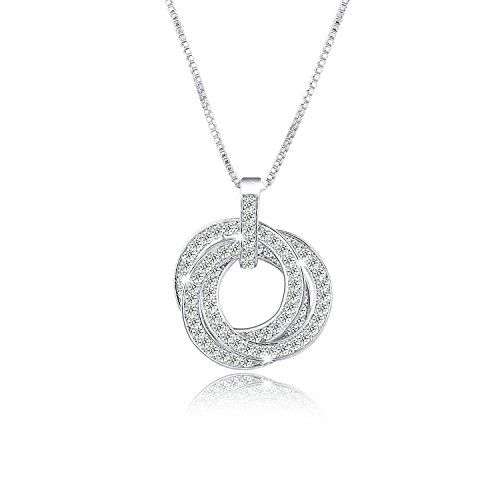 Yalong 3 Interlocking Circle White Gold Plated CZ Pendant Necklace for Women, Best Valentines Day Gifts for Her Circle Zirconia Necklace