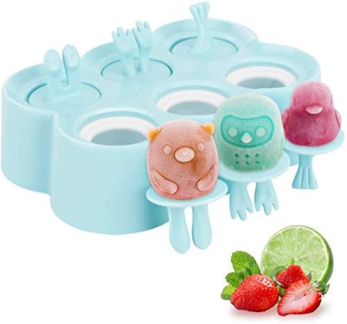 Popsicle Maker, Kids Cartoon Ice Cream Maker, 6 Piece Food-Grade Silicone mold with Sticks, Easy Release & Clean (Sky Blue)        Amazon imported products in Pakistan