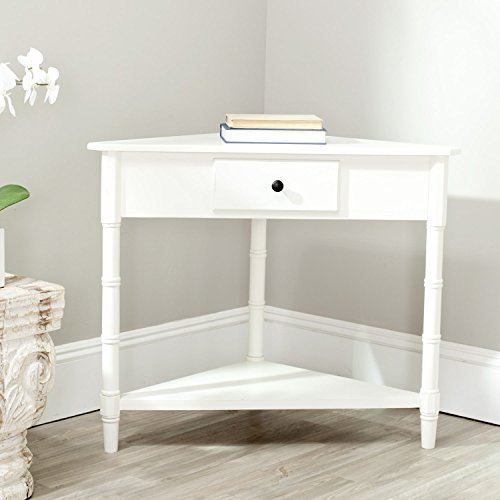 Transitional Corner Table with Storage Drawers, Bottom Shelf and Gracefully Turned Legs, Made from Pine Wood with Cream Finish, Perfect Space to Display Decorative Items, Functional and Stylish (Country Console Casual Corner)