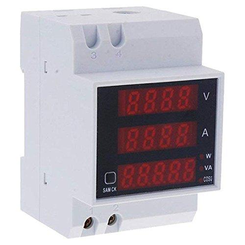 TOOGOO D52-2048 Voltmetre de tension numerique sur rail DIN Wattmetre Amperemetre