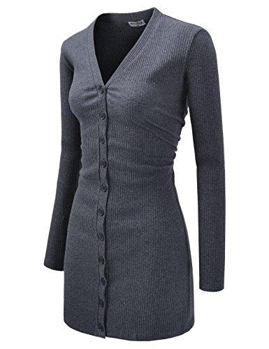 NEARKIN (NKNKWBC793) Womens Slim Cut Look Stripe Pattern Button Up Dress Long Cardigan CHARCOAL US M(Tag size L) - Cardigan Sweater Dress