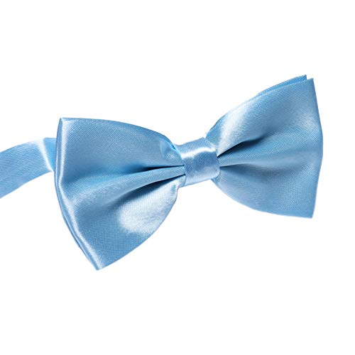 Men's Pre Tied Bow Ties for Wedding Party Fancy Plain Adjustable Bowties Necktie (Light Blue) ()