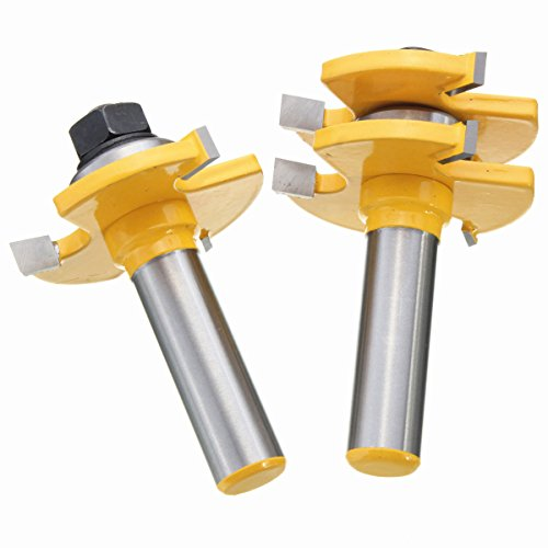 Yingte Tongue and Groove Set, 1/2 Inch Shank T Shape Wood Milling Cutter Woodworking Tool, Wood Door Flooring 3 Teeth Adjustable,2 Piece by Yingte (Image #4)