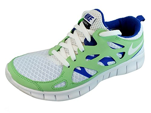 Nike Free Run 2 (GS) Laufschuhe white-poison green-hyper blue-black - 36