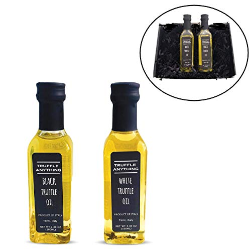 Truffle Oil Gift Set and Gift Box, Black Truffle Oil (3.32oz) and White Truffle Oil (3.32oz), Highest Quality truffle oil from Italy