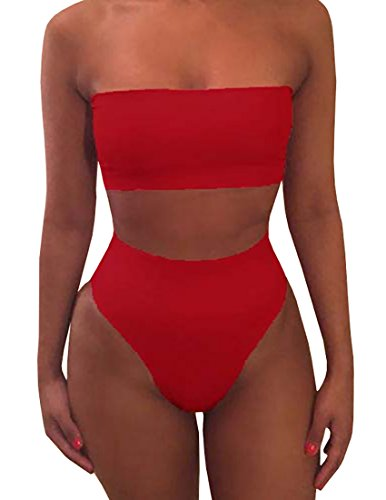Misassy Womens Sexy High Waisted Bikini 2 Piece Bandeau Top Cheeky Bottoms (Black Red 2 Piece)