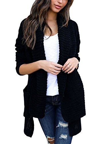 (BLENCOT Women's Fashion Cable Knit Cardigan Sweaters Open Front Long Sleeve Winter Warm Outwear with Pockets Black Small)