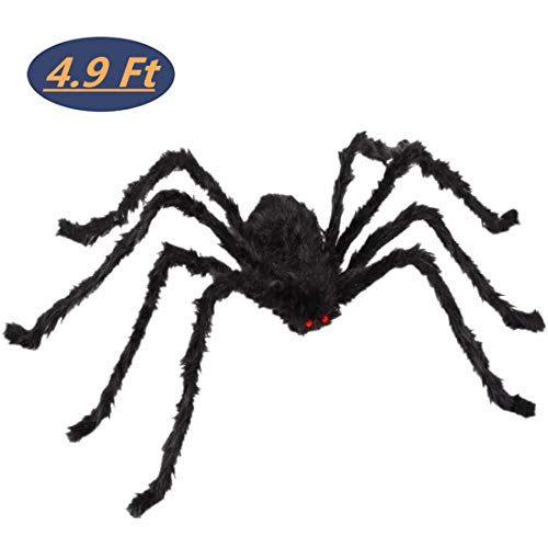Halloween 4.9 Feet Giant Spider Black Soft Hairy Scary Spider for Halloween Outdoor Yard & Indoor -
